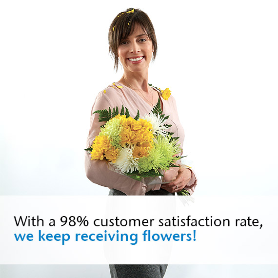 With a 98% customer satisfaction rate, we keep receiving flowers!
