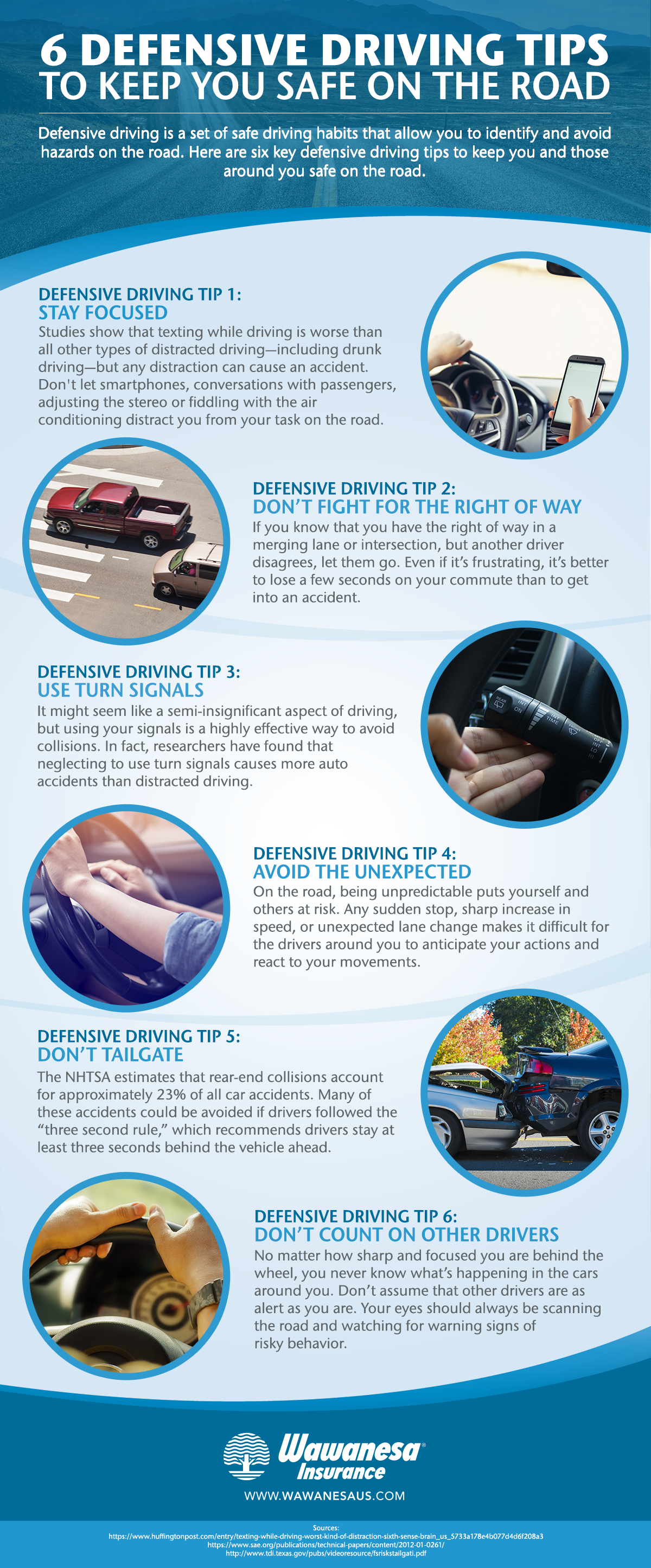 Defensive driving tips infographic